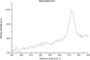 Raman spectra of synthesized Mn-N-co-doped TiO2 calcinated at 550°C (MnNT-550).
