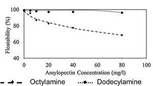 Microflotation curves for wavellite sample with collectors and amylopectin at pH 10.5. Collector concentrations: 1×10−4M.