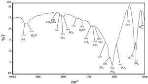 FTIR spectrum for apatite sample.