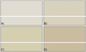 Colors of CBT samples: (a) CBT-2, (b) CBT-4, (c) CBT-6, (d) CBT-8.