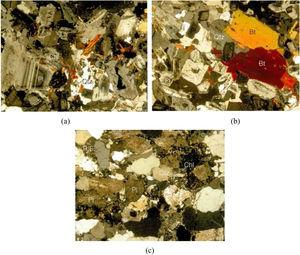 Microscope photographs of (a) diorite, (b) shale, and (c) andesitic rock (Note: Pl: Plagioclas, Bt: Biotite, Qtz: Quartz, Chl: Chlorite, and R.F.: Rock fragment).