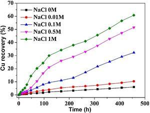 Effects of NaCl concentration on Cu extraction.
