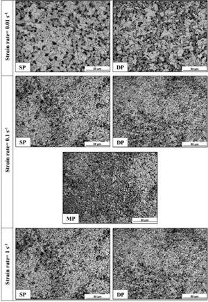 Optical micrographs after different TMCP strategies.