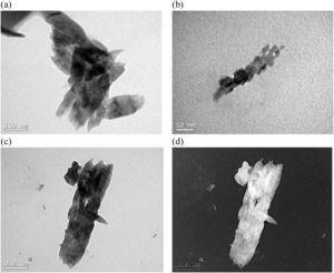 Nanoparticles obtained with CuSO4.5H2O, concentration 0.1M and temperature 75°C: a) and b) bright field images of formed particles; c) and d) bright and dark field images of a nanostructured particle.