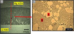 (a) Low magnification micrograph (b) optical micrograph of the irregular shaped region of dissimilar DB weld of Al 5083 to MgAZ31 at the bonding temperature of 440 °C for a bonding time of 60 min.