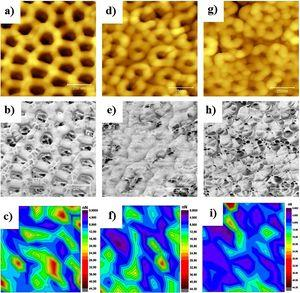 2D Topography, Phase and Force Adhesion Variation Mappings, respectively acquired on 1×1 μm2 for: a, b, c – as formed NTs, d, e, f – annealed NTs and g, h, i – reduced NTs.