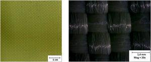 (a) Kevlar woven samples used in the study and (b) shows the optic microscopy Kevlar® 29 woven structure.