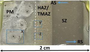 Optical macrograph of the AS of the friction stir weldment of the AA2198-T851 alloy after 72h exposure to 5mM NaCl solution.