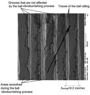 Traces existing on vibroburnished surface that highlight inclined ball movement as a result of combining test piece rotation and vibration motion (fturning=0.2mm/rev, magnification 200× ).