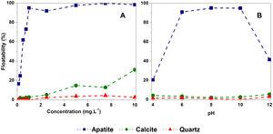 Effects of POC concentration at pH 10 (A) and pH (B) on apatite, calcite and quartz floatability.
