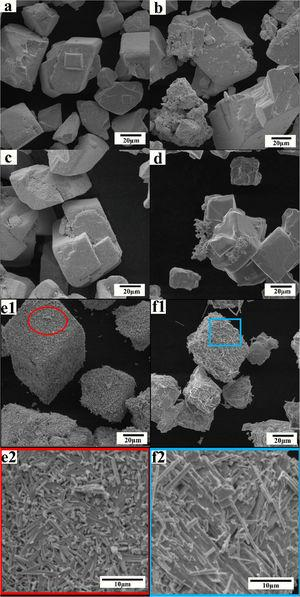 SEM images of WO3 powders obtained by heating to a desired temperature and then cooling to room temperature at Ar atmosphere: (a), (c) and (e) without additive at 923 K, 1123 K and 1323 K; (b), (d) and (f) 1 mass % Li2CO3 at 923 K, 1123 K and 1323 K.