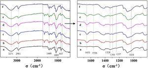 FTIR spectrum of PVA/CS/Gr nanofibrous membranes as related to PVA/CS ratios of a) 10:0, b) 9:1, c) 8:2, d) 7:3, e) 5:5, and f) pure PVA.
