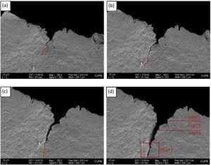 Microcracks propagation and microstructure around the microcracks in WQ810, (a), (b), (c), (d) microcracks generating at 1890 N, 1900 N, 1910 N and 1920 N.