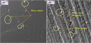 SEM micrograph of worn surface of HAF–polyester composite with 3mm fiber length at (a) 1.5m/s and (b) 4.5m/s.
