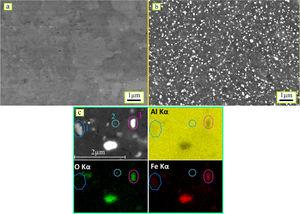 SEM backscattered electron images of the SZs of FSPed AA1050 (a) without and (b) with Al–Fe3O4 powder addition (c) SEM micrograph and EDS X-ray maps of the fabricated composite using Al-Kα, O-Kα, and Fe-Kα radiations exhibiting elemental partitioning of 1, 2 and 3 type particles in Al matrix.