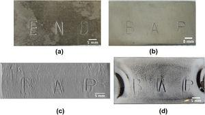 Restoration of sample B1 stamp marks obliterated by overstamping: (a) sample B1 after stamping; (b) The surface of sample B1 after obliteration; (c) Magnetograph of the restored stamp marks by magneto-optical imaging; (d) Image of the restored stamp marks by magnetic particles.