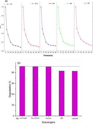 (a) Recycle ability test of 24%-POPD/Sb2O3 up to 5 cycles (b) radical generation plot.