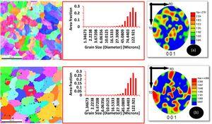 Ordinary EBSD microstructural pictures (IPF and grain boundary) and grain size distribution as a function of area fraction for various composites: (a) Al6061-5 wt% (SiC + Al2O3), (b) Al6061-5 wt% (SiC + Al2O3)-2.5 wt% CeO2.