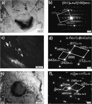 TEM images demonstrating three different types of carbides in the 4Cr5MoSiV1 steels under the tensile testing at 580°C. a–b) Bright-field image and the corresponding electron diffraction pattern of M7C3; c–d) Dark-field image and the corresponding electron diffraction pattern of M23C6; e–f) Bright-field image and the corresponding electron diffraction pattern of MC.