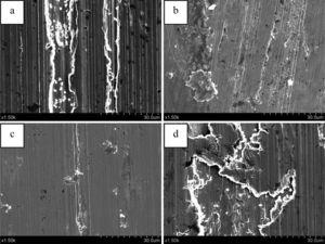 Worn surface morphologies of 16 Mn steel and Fe-Ni matrix composites: (a) 16 Mn steel, (b) FG1, (c) FG3 and (d) FG5.