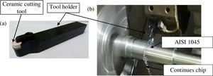 Machine tool (a) tool holder with ceramic cutting tool and (b) machining trial for the fabricated cutting tool.