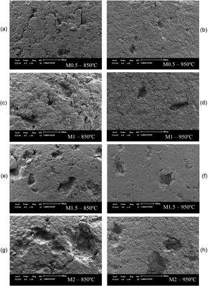 SEM images of different compositions sintered at 850 and 950 °C: (a,b) M0.5; (c,d) M1; (e,f) M1.5; and (g,h) M2.