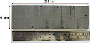 Specimen made of Inconel 625 containing 10 EDM notches with width values from 0.16 to 0.40 mm.