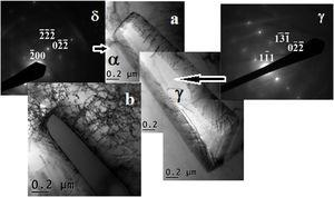 (a) Bright field image (BF) of an IGA precipitate. The misfit dislocations can be observed at the broad faces (tilt 1.1°), (b) the same precipitate of IGA showing the major planar facet and the interwoven dislocations in the ferrite matrix (tilt 6.3°). The diffraction patterns of austenite and ferrite obtained with the same tilt conditions.