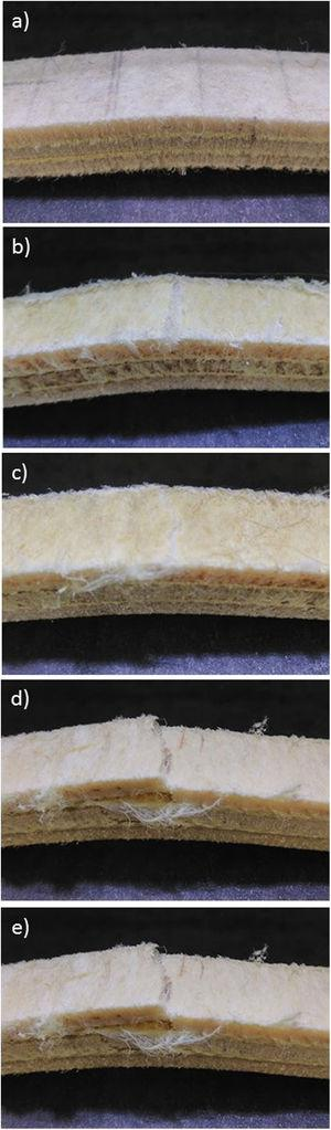 Photographs of fracture surfaces of hybrid composites under all study conditions; (a) CR, (b) UV 300, (c) UV 600, (d) GAMA 150, (e) GAMA 300.