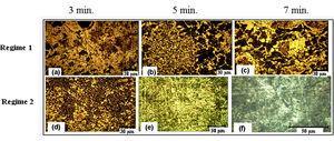 SEM microstructures of the modified 30CrMnSiA steel after PEN/C treatment: regime 1 – a) 3min., b) 5min., c) 7min., regime 2 – d) 3min., e) 5min., f) 7min.