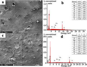Structure (a, c) and energy spectra (b, d) obtained by the electron microprobe analysis of the regions marked by the sign (+) in (a) and numbers (1, 2) in (c). Complex treatment by mode No. 1 (a, b) and by mode No. 2 (c, d).