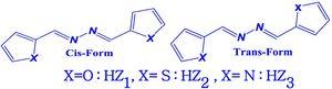 2D structures of the series of Azines compounds HZi (HZ1, HZ2 & HZ3).