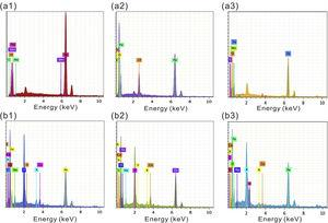 EDS analysis of X65 steel after 5, 13, 21 days of exposure in (a1, a2 and a3) sterile and (b1, b2 and b3) mixed SRB+IOB media.