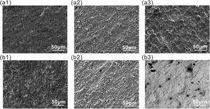 SEM images of X65 steel after removing corrosion products after exposure to (a1, a2 and a3) sterile and (b1, b2 and b3) mixed SRB+IOB media for 5, 13, 21 days.