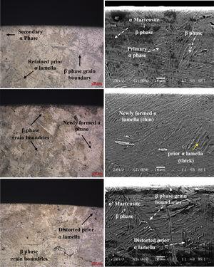 Optical microscope images and FE-SEM images of the machined surface textured beneath at different cutting speed (a–b) 65m/min, (c–d) 112m/min, and (e–f) 124m/min.