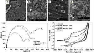 Microstructure of AZ91 alloy after (a) HCl pre-treatment, and (b) HCl pre-treatment followed by CeCC. (c, d) SEM images of the conversion coated alloy after five days of immersion in chloride media (c) without acid pre-treatment and, (d) with acid pre-treatment. Nyquist and polarisation plots of differently coated alloys are also provided [145].