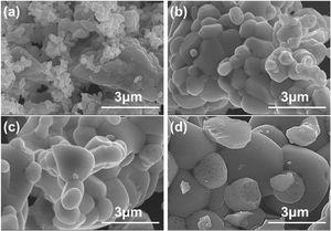 SEM images showing the morphologies of Ca1.5ZnMoO5.5 powders at different synthesis temperatures: (a) 800°C, (b) 1000°C, (c) 1100°C, and (c) 1200°C.