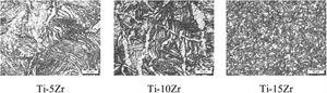 Optical micrographs of forged Ti-Zr-based alloys.