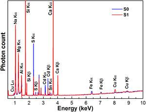 X-ray fluorescence quantitative analysis of samples S0 and S1.