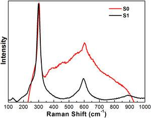 Raman spectra of both samples without background removal are shown.