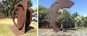 WS sculptures exposed at the Campus of the University of São Paulo (USP)/Brazil. (a) O Quadrado, o Círculo e o Disco fragmentado (2003) and (b) Monumento ao Politécnico-Palas Atena or Ágora (1994).