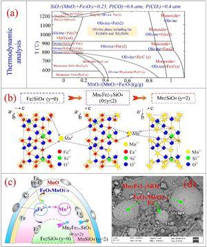 (a) Ternary phase diagram of Fe3O4–MnO2-20 wt.% SiO2 system; (b) crystal structure of fayalite Fe2SiO4 and Mn2SiO4; (c) phase transformation of Fe2SiO4 for carbothermic reduction process; and (d) SEM of Fe–Mn ores reduced at 1100 °C for 30 min.