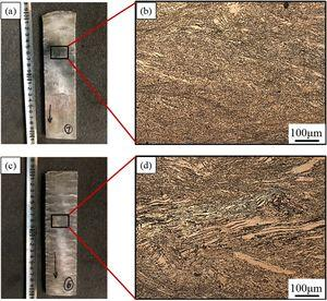 The appearances and microstructures of hot rolled plate: (a,b) Suitable processing area, (c,d) Instability area.