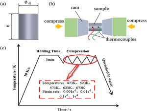 The diagram of compressing specimen geometry and the compressive deformation processes.