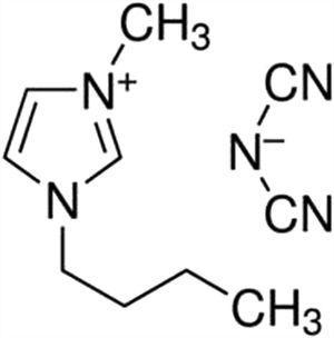 Structural formula of 1-butyl-3-methylimidazolium dicyanamide.