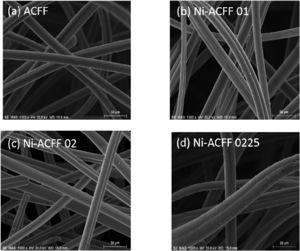 FEG-SEM images of electrodeposited Ni-ACFF felts in different current densities values (a) ACFF, (b) -0.100 mA.cm-2, (c) -0.200 mA.cm-2 and (d) -0.225 mA.cm-2. Magnification of 1.000x and 30 µm of scale bar.