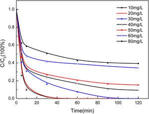 Effect of initial concentration of phenol on its degradation.