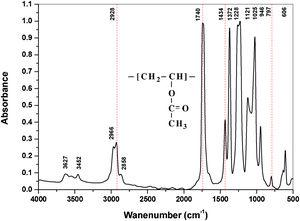 FTIR absorption spectra of pure PVAc.