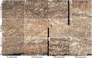 Microstructure of unbending plate or 0 mm/min (a, b and c) and continuous bending plate on the pressure velocities of 100 mm/min (d, e and f), 300 mm/min (g, h and i) and 500 mm/min (j, k and l).