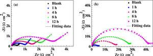 Nyquist plots of the copper specimens measured in 0.5M H2SO4 solution after immersion in 10mM ID (a) or TPBI (b) solutions for various self-assembly time.